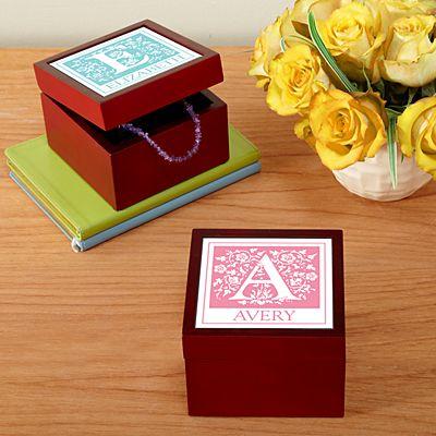 Floral Initial Tile Keepsake Box