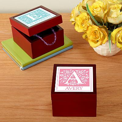 Floral Initial Tile Keepsake Box