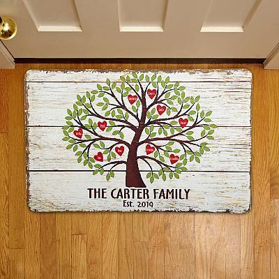Family Tree of Hearts Doormat