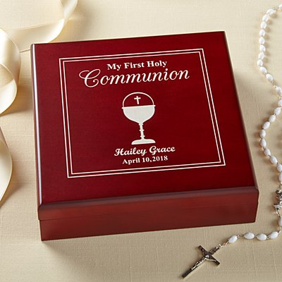 First Communion Wood Keepsake Box