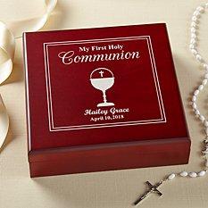 First Communion Wood Keepsake Box
