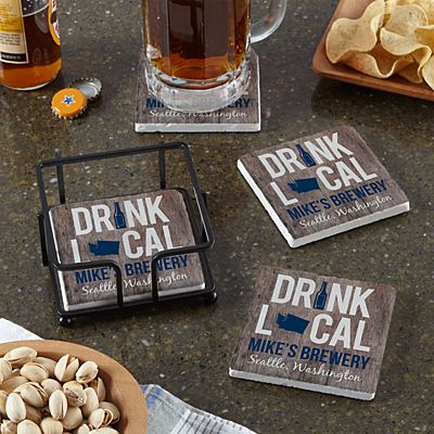 Drink Local Marble Coasters