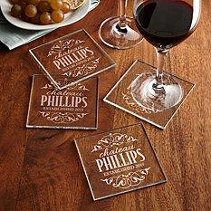 Decorative Label Glass Coasters