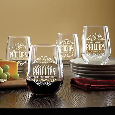 Decorative Label Stemless Wine Glasses - Set of 4
