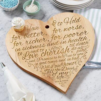 Wedding Vows Wood Heart Cutting Board