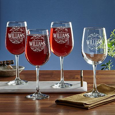 Decorative Label Stemware Glasses - Set of 4