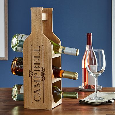 Decorative Wood Wine Bottle Display