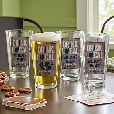 Drink Local Pint Beer Glass