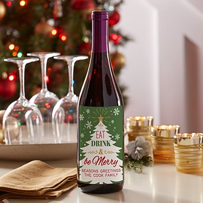 Eat, Drink & Be Merry Wine Labels (Set of 4)