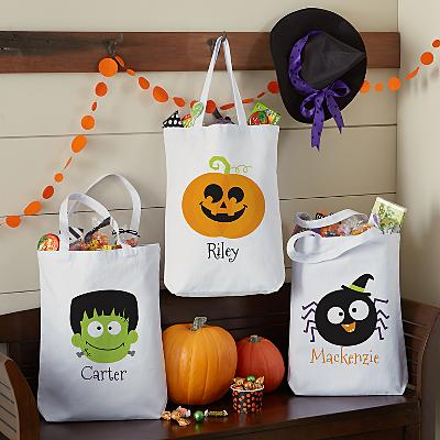 Frightful Halloween Faces Treat Bag