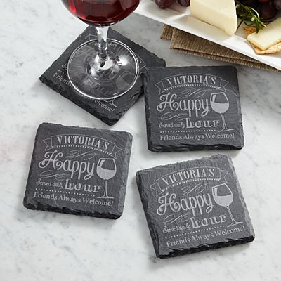 Happy Hour Slate Coasters