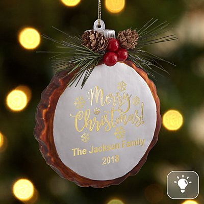 Merry Christmas Rustic Pine Lighted Glass Ornament