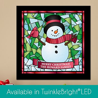 Snowman Stained Glass Canvas