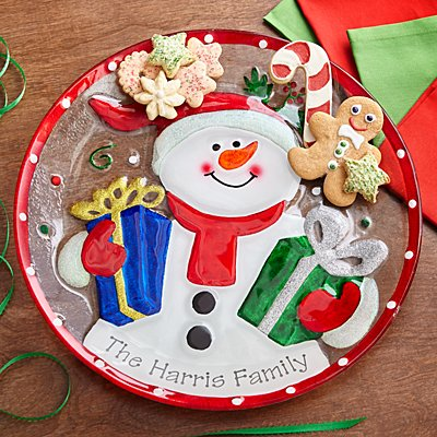 Whimsical Snowman Glass Platter