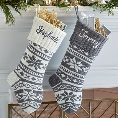 Winter Snowflake Knit Stocking