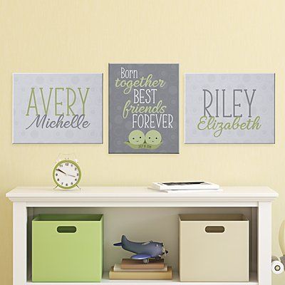 Peas In A Pod Twins 3pc Canvas Set