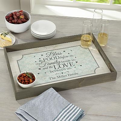 Bless This Food Wood Serving Tray
