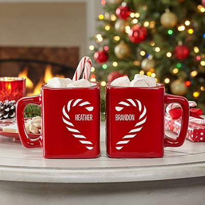 Candy Cane Couple Heart Mug Set