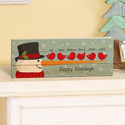 Cheery Snowman Bird Family Mini Wood Pallet