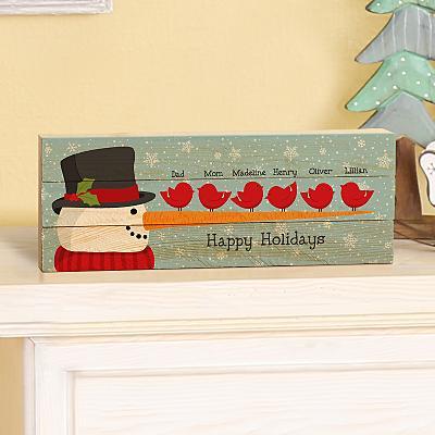 Cheery Snowman Bird Family Mini Wooden Pallet