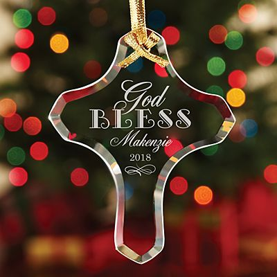 Christmas Blessings Cross Glass Ornament