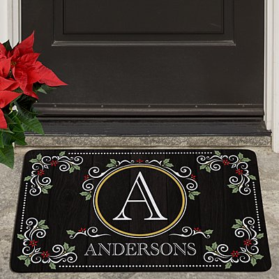 Elegant Holiday Scroll Doormat