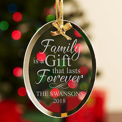 Family is a Gift Glass Oval Ornament
