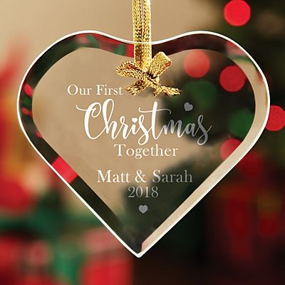 First Christmas Together Heart Glass Ornament