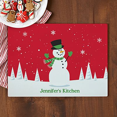 Holiday Happiness Glass Cutting Board