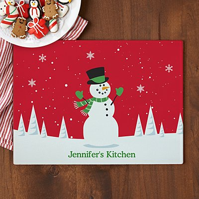 Christmas Happiness Glass Chopping Board