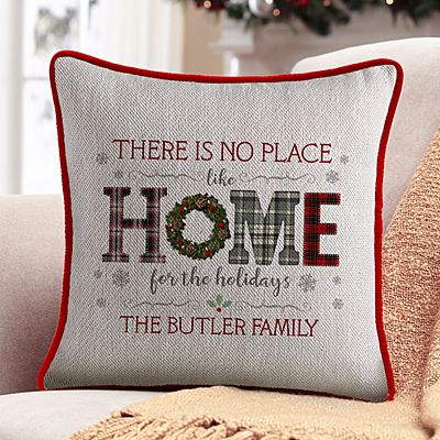 Home for the Holidays Velvet Throw Pillow