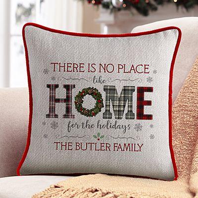 Home for the Holidays Velvet Throw Pillow