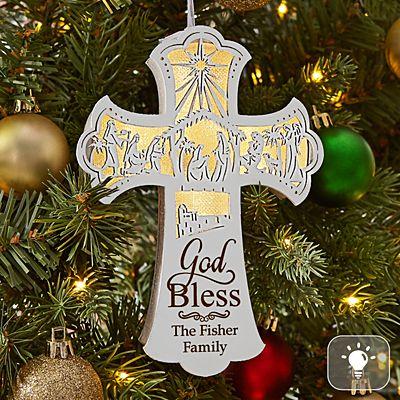 Illuminated Nativity Cross Ornament