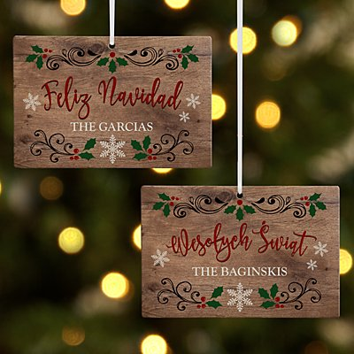 Languages of Christmas Wooden Rectangle Ornament