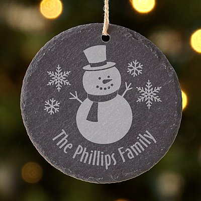 Let It Snow Round Slate Ornament