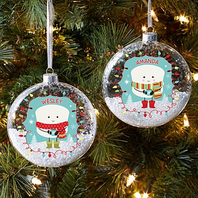 Lovable Marshmallow Holiday Glitter Glass Ornament