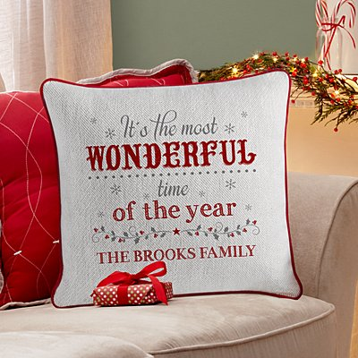 Most Wonderful Time of the Year Velvet Throw Pillow