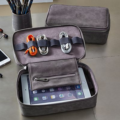 On The Go Leather Tech Organizer