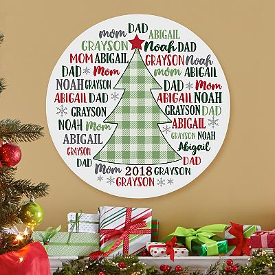 Our Festive Family Circle Wood Plaque