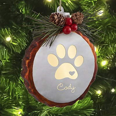Paw Print Rustic Lighted Glass Bauble