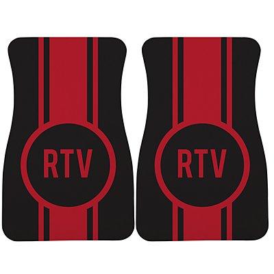 Race Stripes Car Mat - Black/Red Monogram