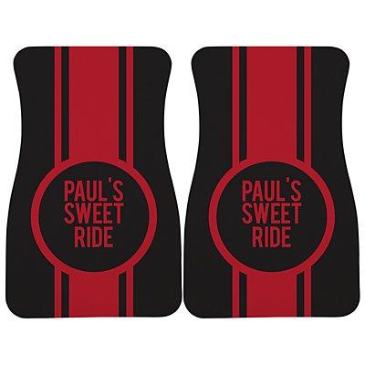 Race Stripes Car Mat - Black/Red Message