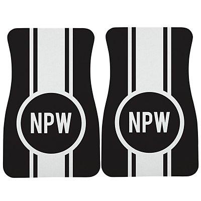 Race Stripes Car Mat - Black/White Monogram