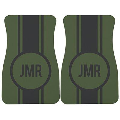 Race Stripes Car Mat - Green/Gray Monogram
