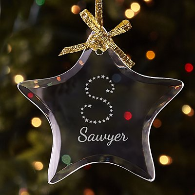 Star Initial Glass Ornament