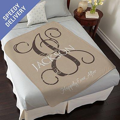 Weathered Initial Plush Blanket