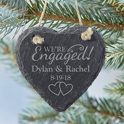 We're Engaged Heart Slate Ornament