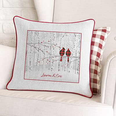 Winter Woodland Family Velvet Throw Pillow