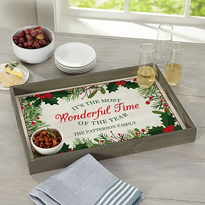 Wonderful Time of the Year Wood Serving Tray