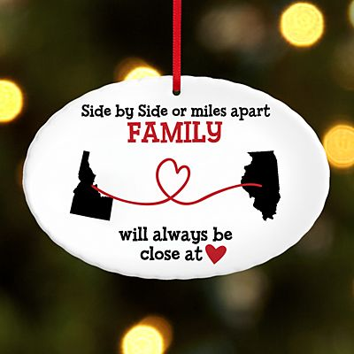 Miles Apart, Close at Heart Oval Ornament